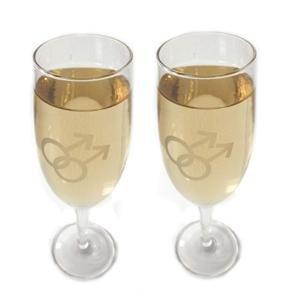 Gay Mens Champagne Flutes 2 Gay Pride Wedding Toast Same Sex Marriage