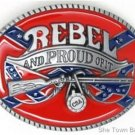 Confederate Flag Rebel And Proud Of It Belt Buckle CSA Southern Dixie Civil War