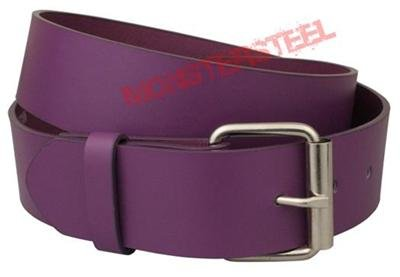 Purple Leather Belt Snap On Buckle 1.5 Inch Wide