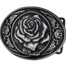 Western Belt Buckles Silver Vintage Rose Buckle Flower Country
