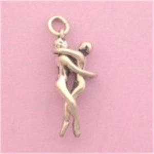 All Silver Man / Man Embrace PENDANT Mens Gay Lovers