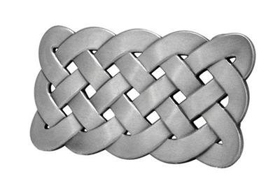 Belt Buckle Celtic Knot Weave Mesh Irish Silver Brushed Metal Medieval