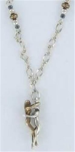 Silver and Bronze Dbl Woman Embrace Necklace Lesbian
