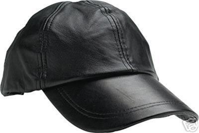 Leather Baseball Cap Ball Cap Hat Black Giovanni Navarre®