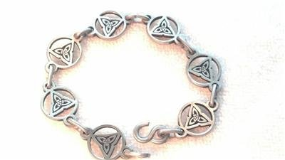 Celtic Triquetra Trinity Knot Pewter Link Bracelet 8 Inch Christian Irish Pagan