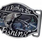 I'd Rather Be Fishing Belt Buckle Bass Sport Fisherman Western