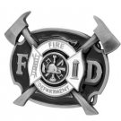 Fire Department FD Belt Buckle Black Metal Firefighter Fireman Hero Fire Dept