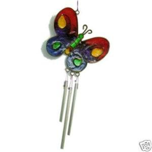 Stained Glass Rainbow Butterfly Wind Chimes Gay Pride
