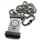 Gay Mens Steel and Titanium Tag Pendant Gay Pride
