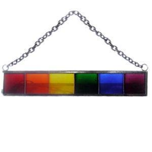 Gay Pride Bar Stained Glass Suncatcher Rainbow