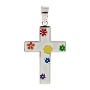 Stainless Steel Cross Pendant with Rainbow Flowers Lesbian Gay Pride Christian