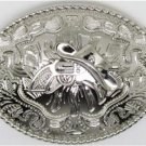 Silver Western Cowboy Hat & Pistol Gun Oval Belt Buckle Fancy Frame Metal