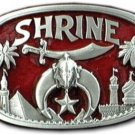 Shrine Shriner Belt Buckle 3D Red Enamel & Metal Jewel of the Order Masonic