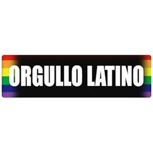 Orgullo Latino on Black Sticker Gay Latino Pride Rainbow Sticker