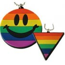 Gay Pride Rubber Dog Tag Pendants & Chain Smiley Face Triangle