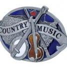 Country Music Belt Buckle Metal Banjo Fiddle Western