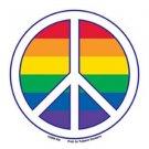 Gay Pride Peace Sign Bumper Sticker Rainbow Lesbian