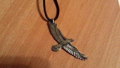 Soaring Raven Pendant With Cord 0.925 Sterling Silver Men's