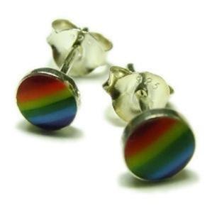 Rainbow Sterling Silver Stud Earrings Lesbian Gay Pride