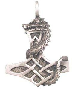 Thor's Hammer with Dragon Pewter Pendant Necklace Thor