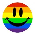 Large Gay Pride Rainbow Smile Metal Button Pin Lesbian