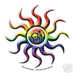 Rainbow Tribal Sun Double Male Bumper Sticker Gay Pride
