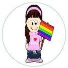 Large Gay Pride I Love Girls Metal Button Pin Rainbow Lesbian