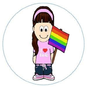 Large Gay Pride I Love Girls Metal Button Pin Rainbow Lesbian