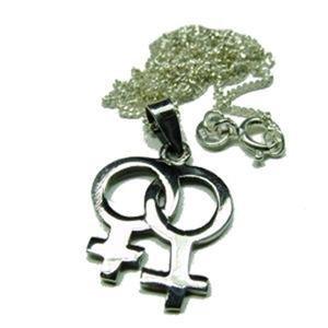 Lesbian Symbol Dbl Female 0.925 Sterling Pendant Chain
