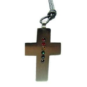 Stainless Steel Cross Crystals Pendant Lesbian Gay