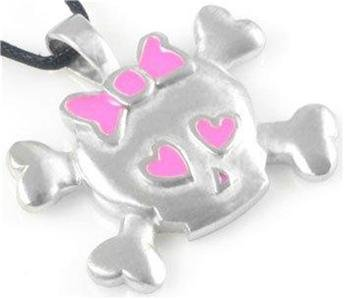 Skull and Crossbones Pink Hearts Pewter Pendant Cord