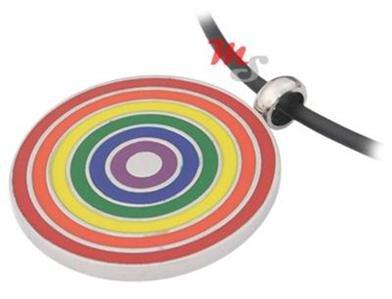 Round Gay Pride Stainless Steel Pendant Rainbow Bulls Eye Enamel