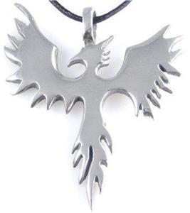 Pewter Phoenix  Bird Pendant Firebird Necklace