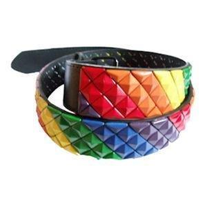 Gay Pride Rainbow Stud Belt 1.5 Inch Wide