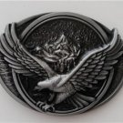 3D Soaring Eagle with Mountains Silver Colored Western Belt Buckle