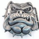 Animal Belt Buckle 3D English Bulldog Bull Dog Head w Spiked Collar Metal