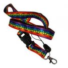 Gay Pride Rainbow Peace Woven Ribbon Lanyard Keychain