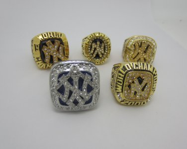 5 Rings Combo Set-NY Yankees 1996 1998 1999 2000 2009 World Championship Rings