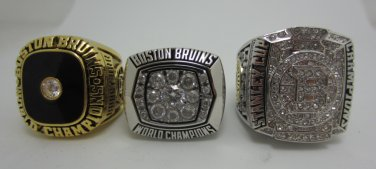 One set 3PCS 1970 1972 2011 Boston Bruins NHL Hockey Stanely cup Championship ring size 12