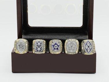 5 PCS 1971 1977 1992 1993 1995 CHAMPIONSHIP RING Dallas Cowboys 10-13 size +wooden case