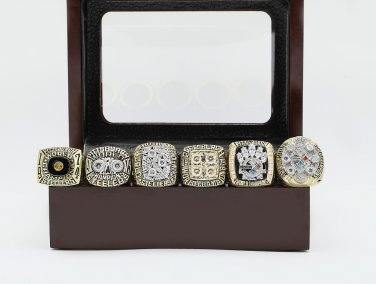 6PCS 1974 1975 1978 1979 2005 2008 CHAMPIONSHIP RING Pittsburgh Steelers 10-13 size +wooden case