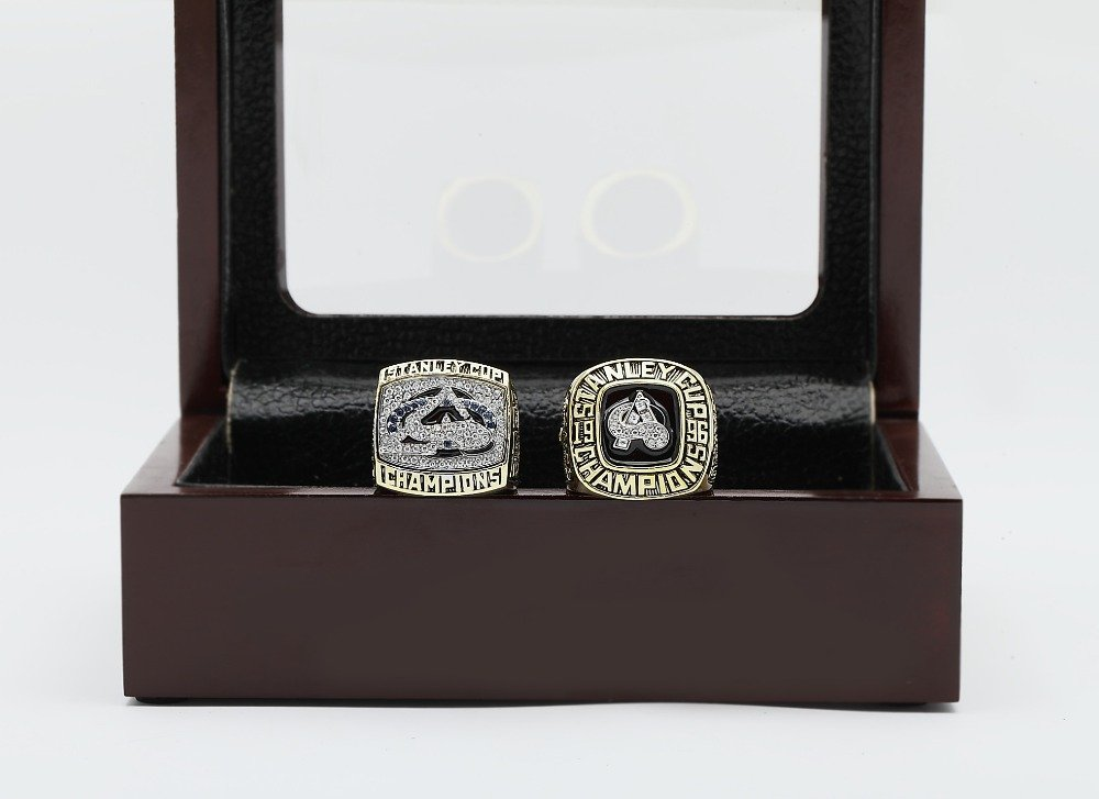 One Set 2 PCS 1996 2001 COLORADO AVALANCHE NHL CHAMPIONSHIP RING 10-13 size +wooden case