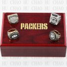 One Set 4 PCS 1966 1967 1996 2010 Green Bay Packers rings 10-13 size Logo wooden case