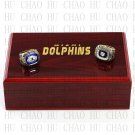 One Set 2 PCS 1972 1973 Miami Dolphins super bowl rings 10-13 size Logo wooden case