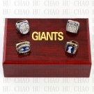 One Set 4 PCS 1986 1990 2007 2011 New York Giants rings 10-13 size Logo wooden case