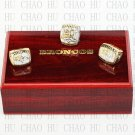 One Set 3PCS 1997 1998 2015 Denver Broncos super bowl rings 10-13 size Logo wooden case