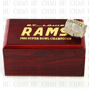 1999 Super bowl CHAMPIONSHIP RING St Louis Rams 10-13 size with Logo wooden case
