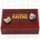 2 PCS 2000 2012 Super bowl CHAMPIONSHIP RING Baltimore Ravens 10-13 size with Logo wooden case