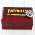 2001 Super bowl CHAMPIONSHIP RING New England Patriots 10-13 size with Logo wooden case