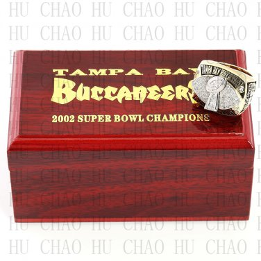 2002 Super bowl CHAMPIONSHIP RING Tampa Bay Bucaneers 10-13 size with Logo wooden case